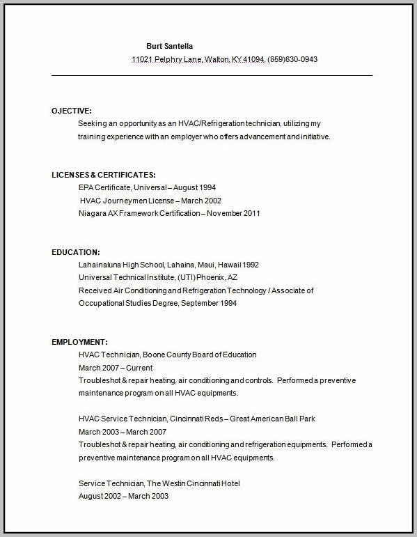 Sample Resume For Air Conditioning Technician