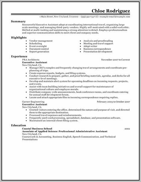 Sample Resume For Executive Assistant In India