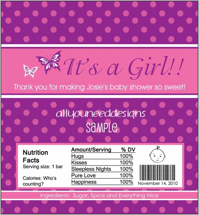 Baby Shower Candy Wrappers Free Printable