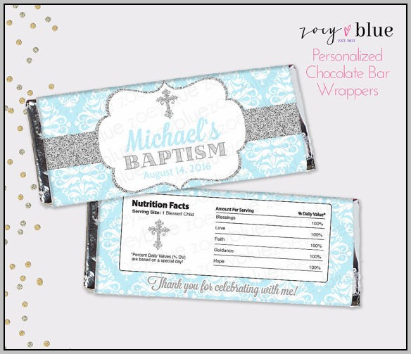 Baptism Candy Wrapper Template