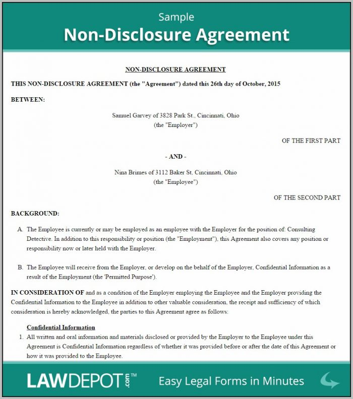 Agreement Of Confidentiality And Nondisclosure