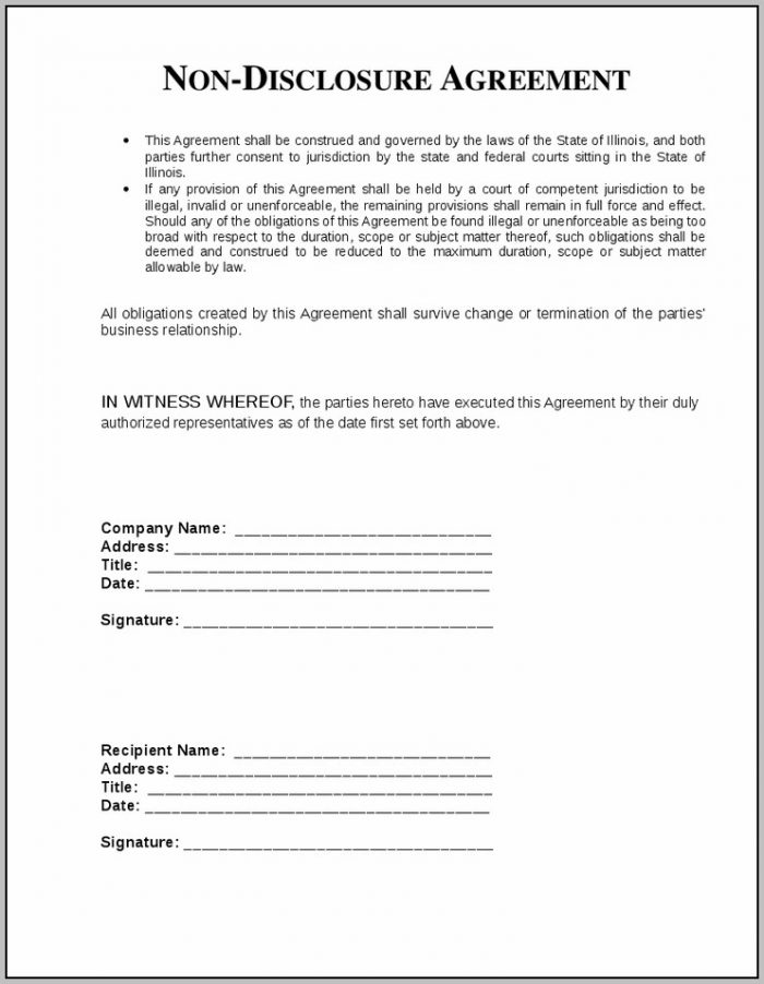 Agreement Of Non Disclosure Sample