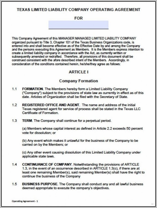 Amendment To Llc Operating Agreement