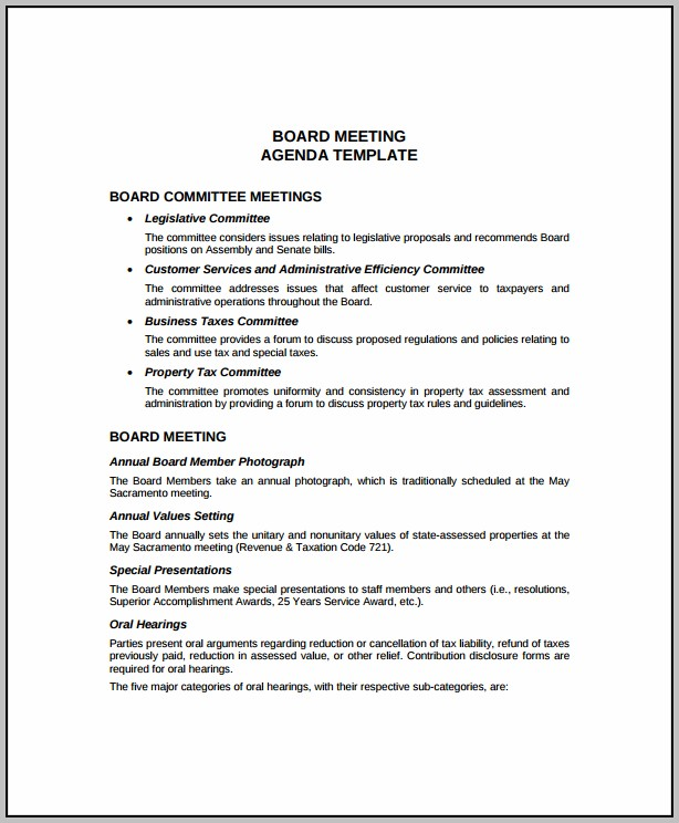 Annual Board Of Directors Meeting Minutes Template