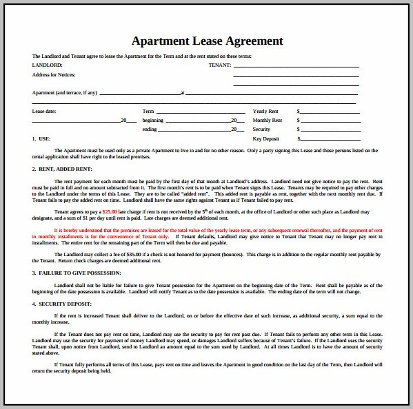 Apartment Lease Agreement Doc