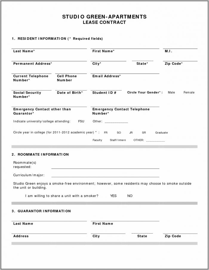 Apartment Rental Form