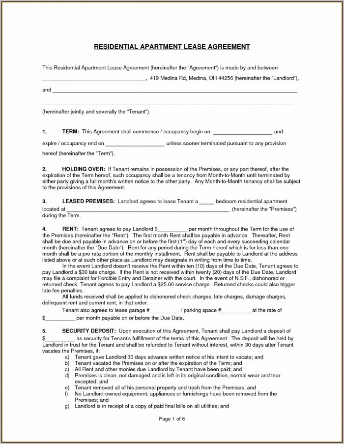 Apartment Rental Lease Template