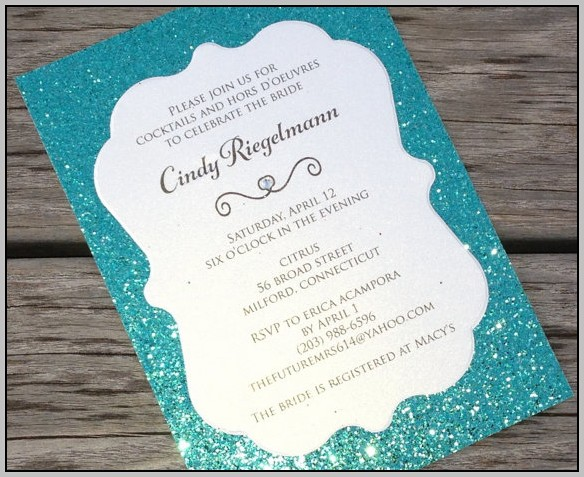 Aqua Bridal Shower Invitations