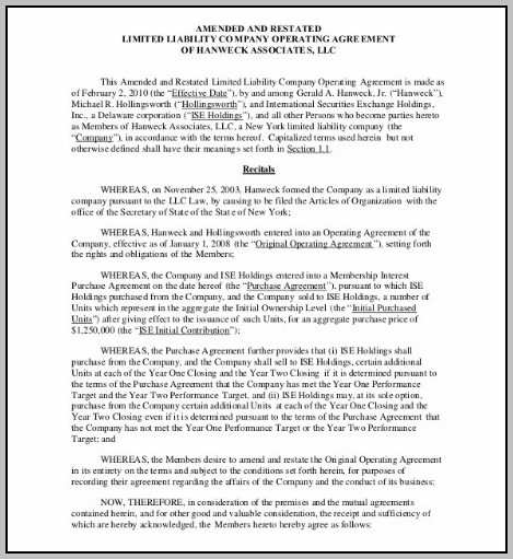 Articles Of Organization Operating Agreement