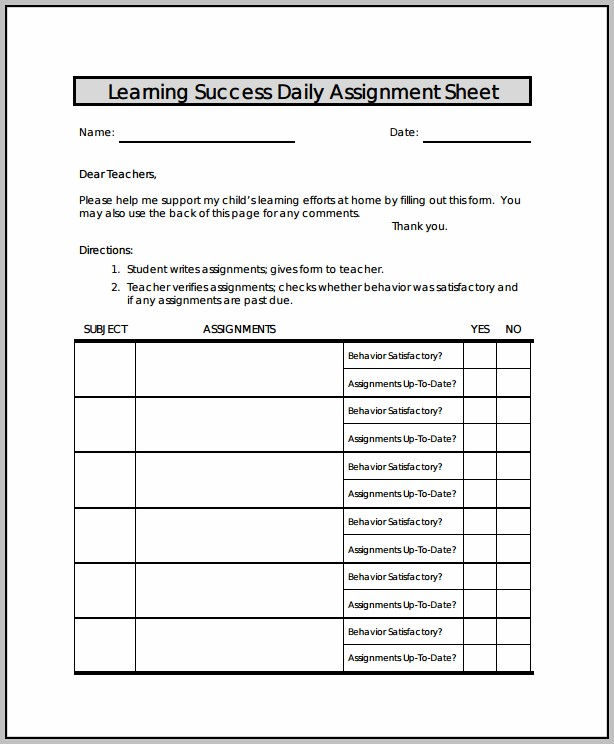 Assignment Template Word