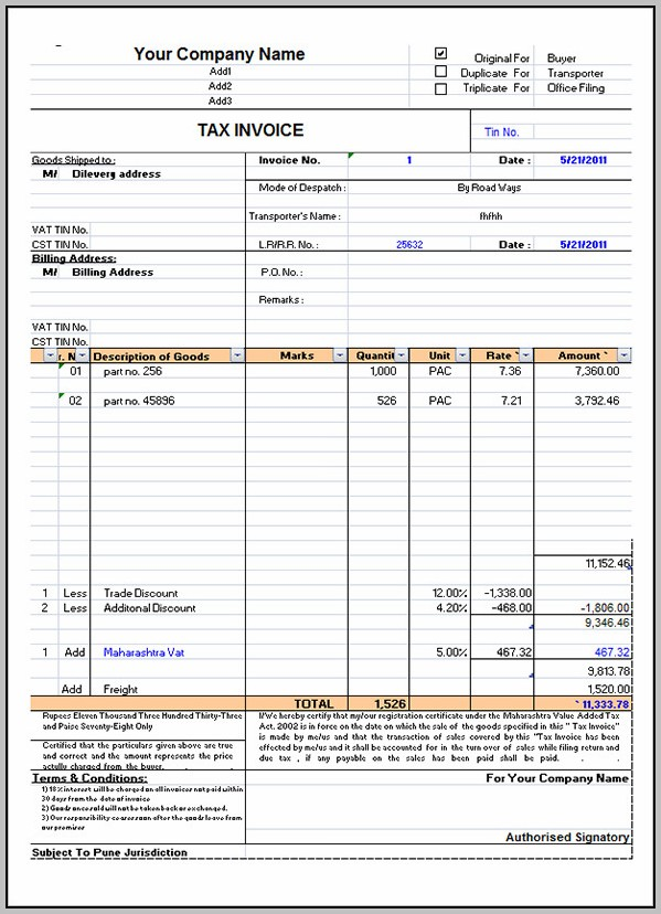 Bill Invoice Format In Excel Free Download