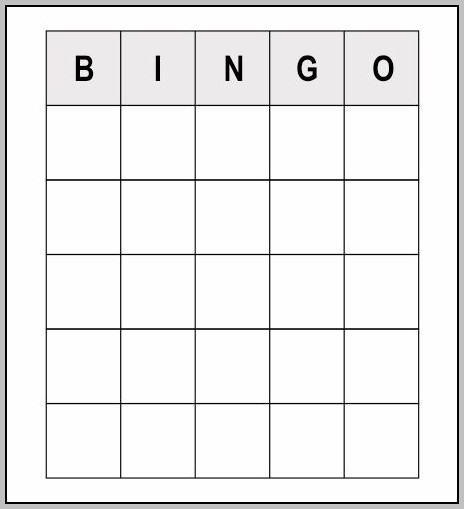 Bingo Template Word
