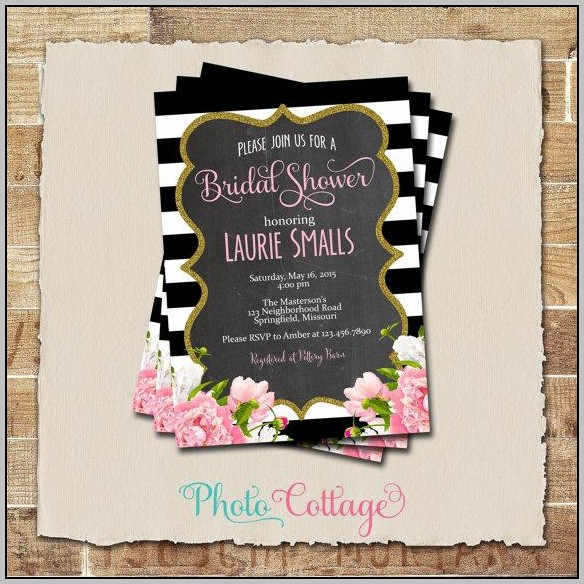 Black And Gold Bridal Shower Invitations
