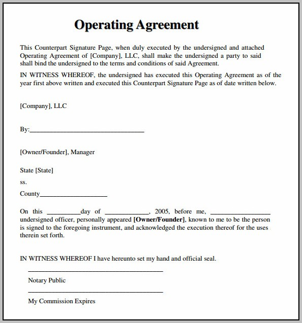 Blank Operating Agreement