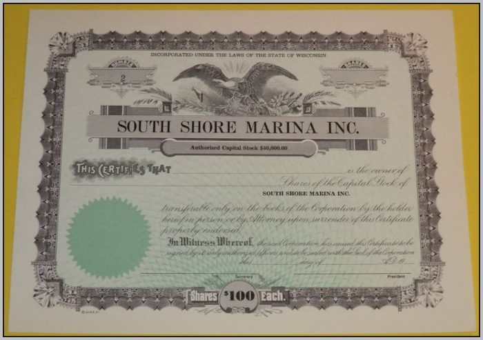 Blank Stock Certificates For Sale