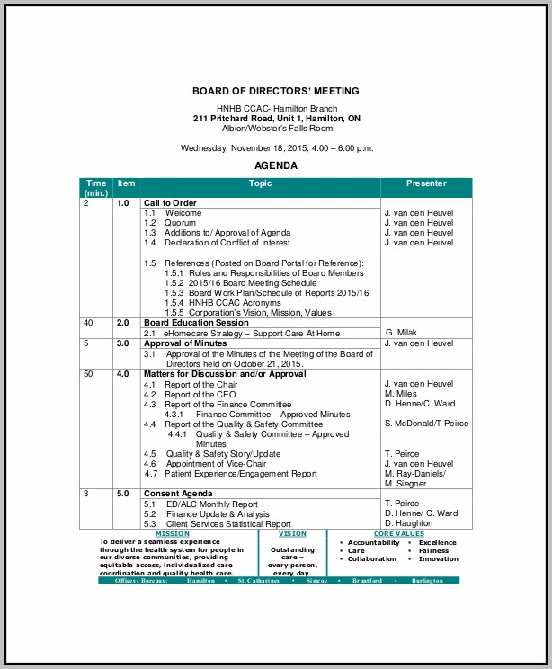 Board Meeting Agenda Example