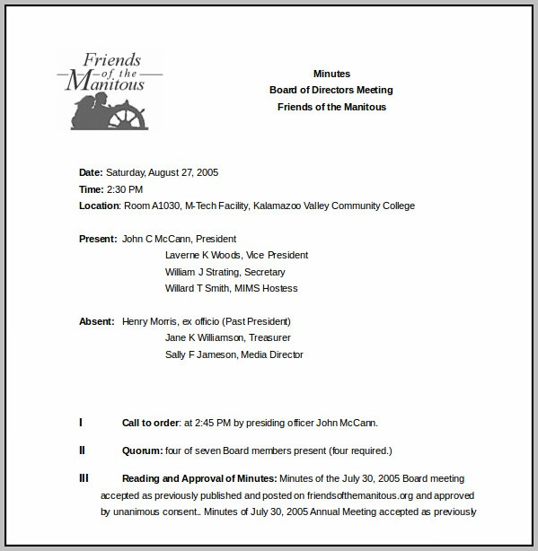 Board Meeting Minutes Template Word