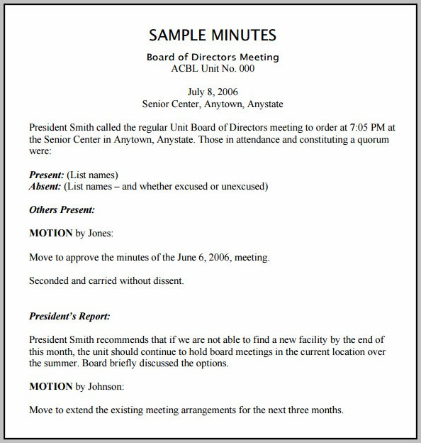 Board Minutes Template