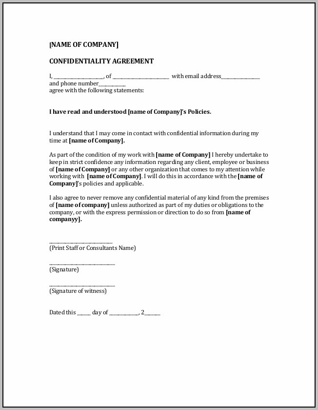 Business Confidentiality Agreement Form