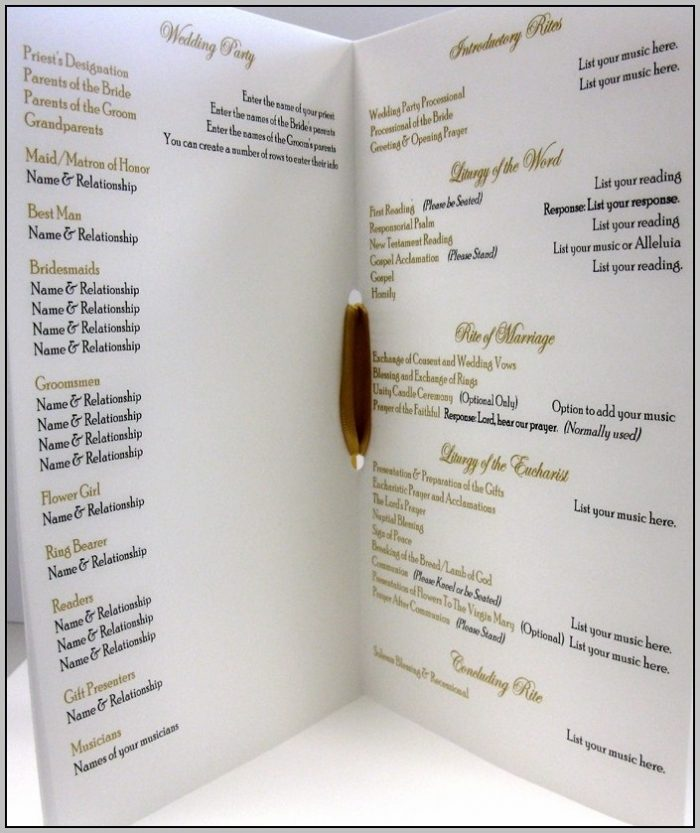 Catholic Ceremony Program Template