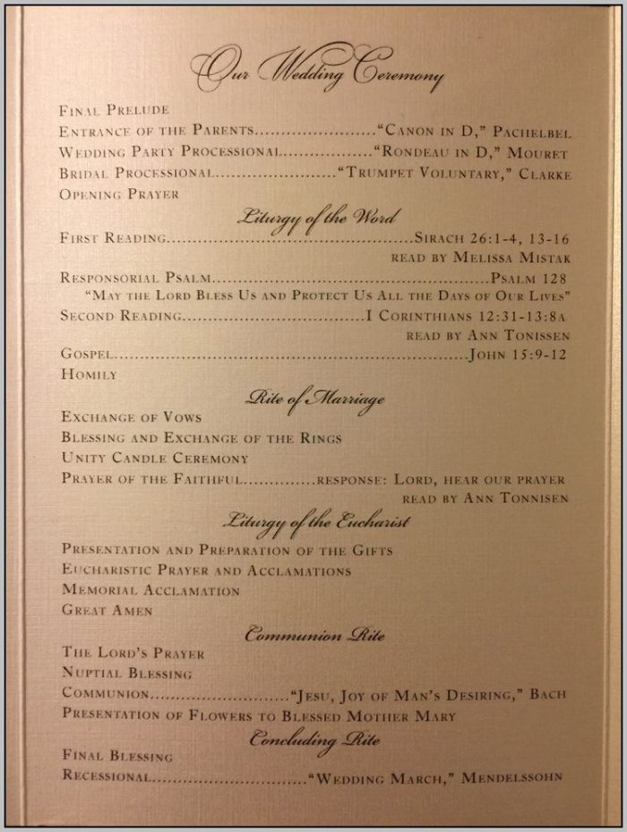 Catholic Wedding Ceremony Program