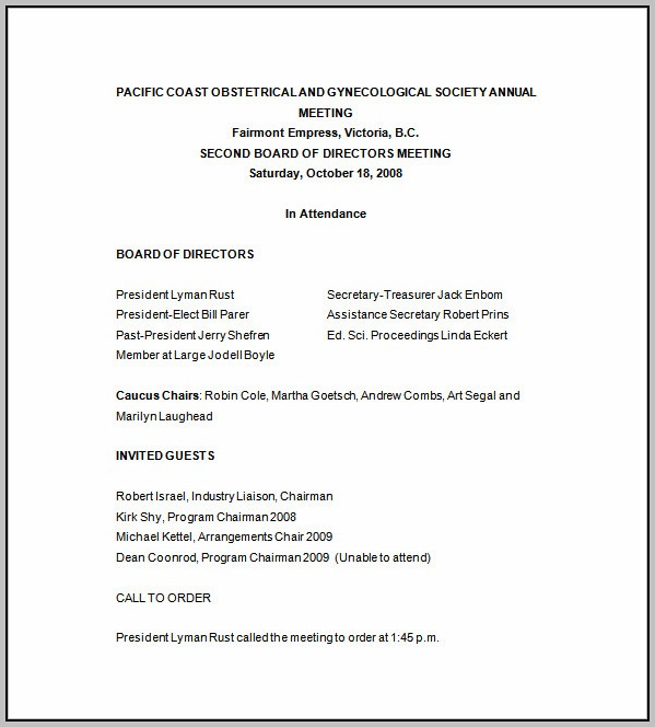 Corporate Board Meeting Minutes Template