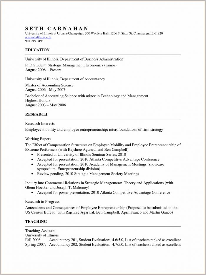 Academic Cv Template Word