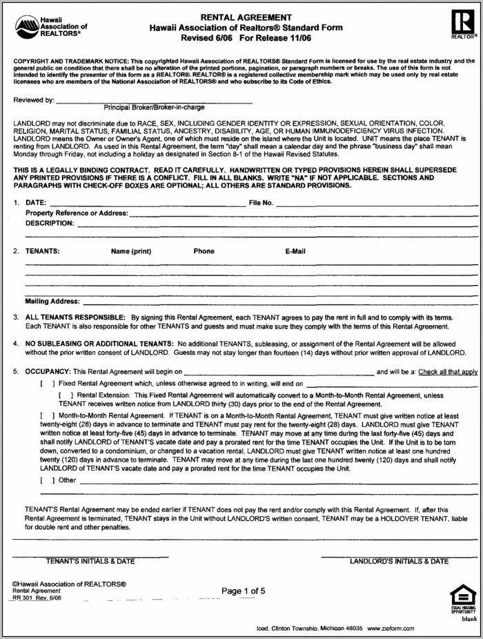 Agreement For Lease Template