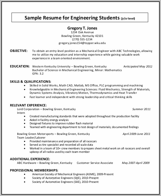 Basic Resume For College Student