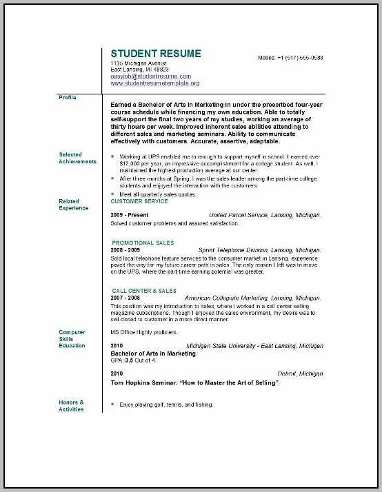 Be Student Resume