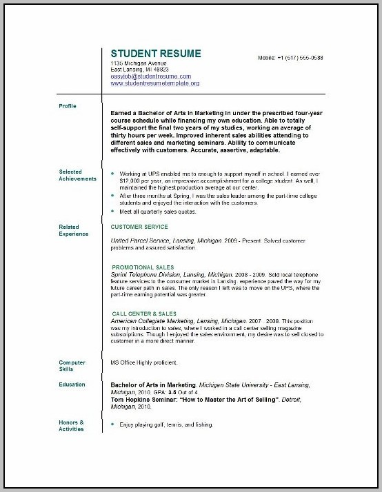 Best Resume For College Students