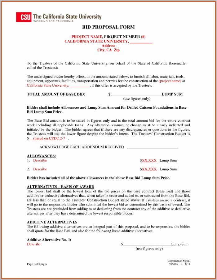 Bid Form Template For Construction