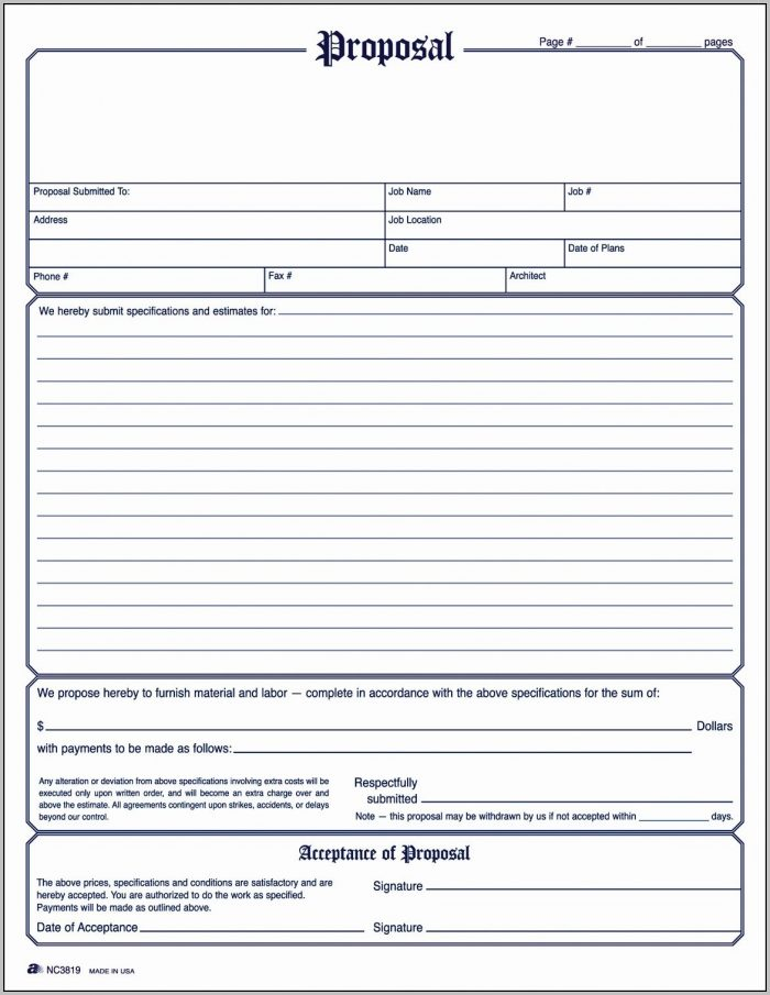 Bid Form Template Free