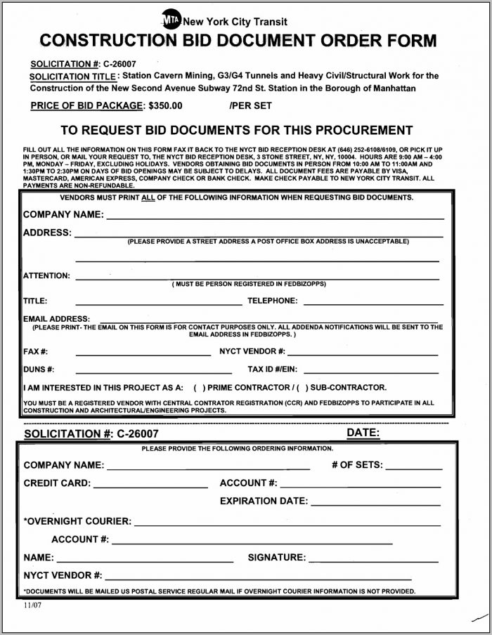 Bid Forms For Contractors Free