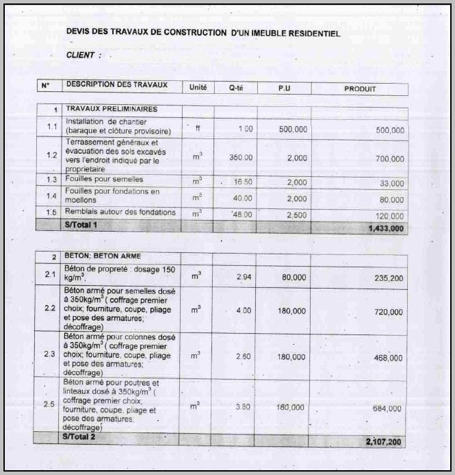 Bill Of Quantities For Building Construction Excel