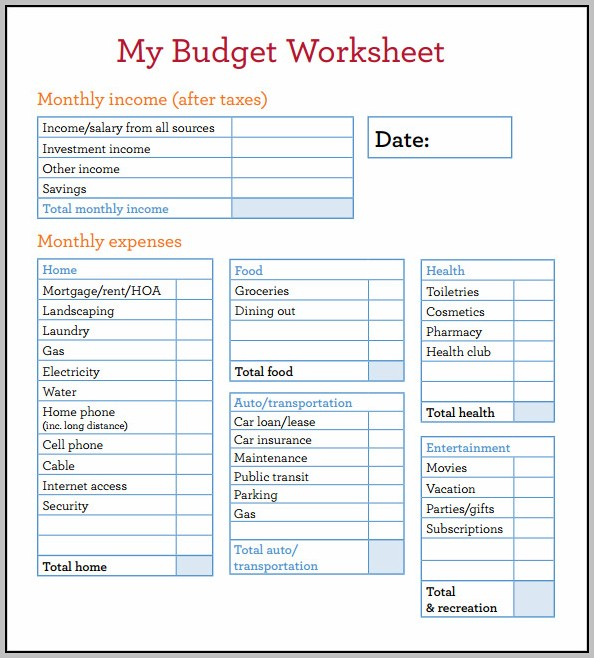 Budget Forms Free Templates