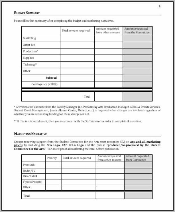 Budget Proposal Sample For Event