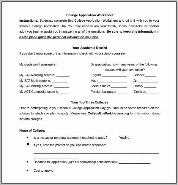 College Application Example