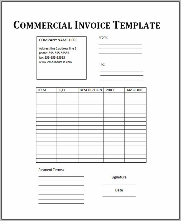 Commercial Invoice Template Excel