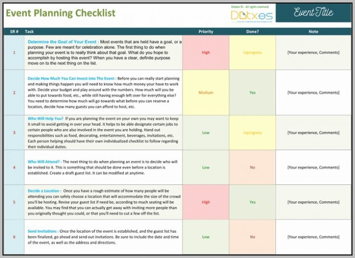 Conference Event Planning Template