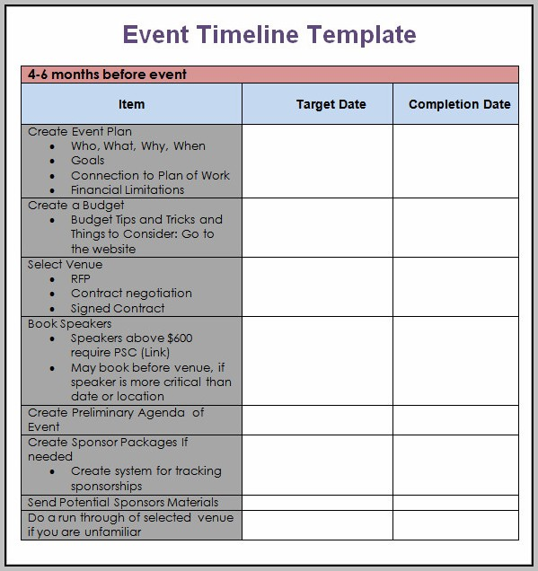 Conference Planning Timeline Template - Template : Resume
