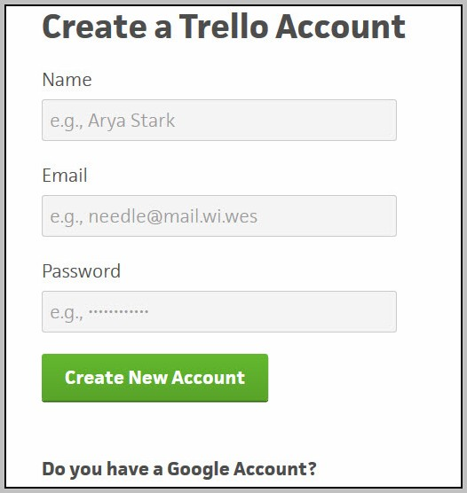 Create Trello Account