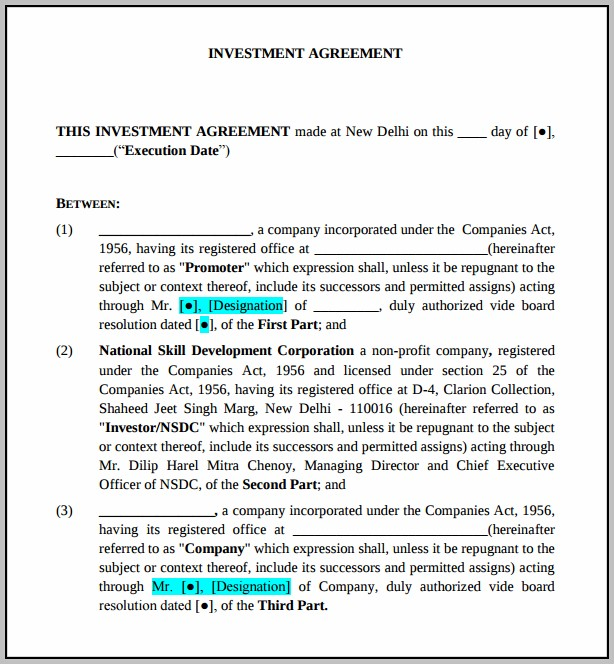 Agreement Format Between Investor And Company