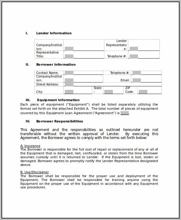 Agreement To Lend Money Template