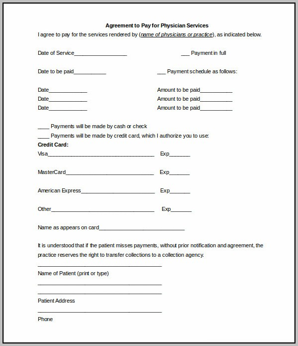 Agreement To Pay Template