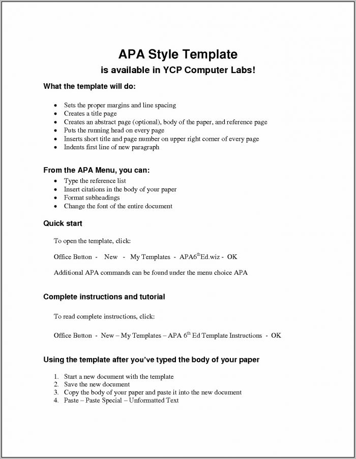 Apa 6th Edition Paper Template