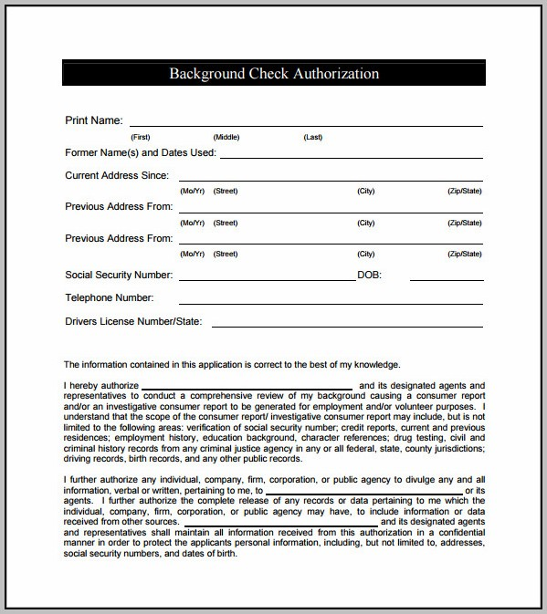 Application For Background Check Template