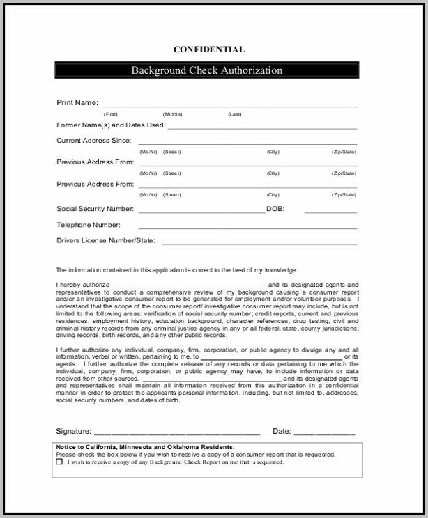 Authorization Background Check Sample Form