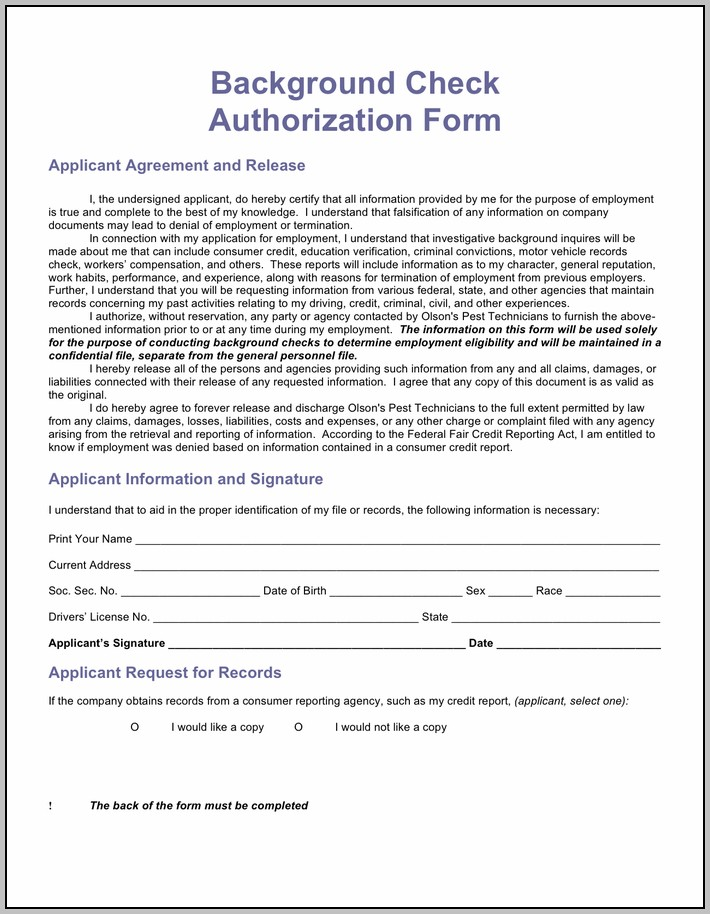 Authorization For Criminal Background Check