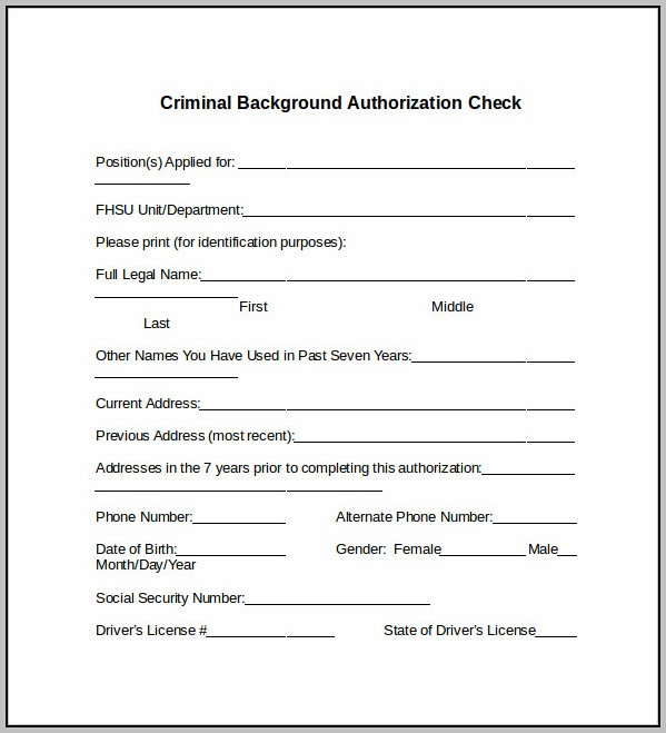 Authorization Letter For Background Check